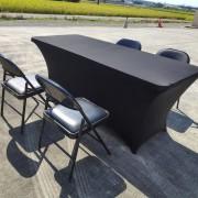 黑色摺疊椅 & 摺疊桌 & 黑色彈力桌套 出租運送 (2)