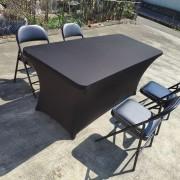 黑色摺疊椅 & 摺疊桌 & 黑色彈力桌套 出租運送 (4)