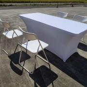 白色摺疊椅 & 摺疊桌 & 白色彈力桌套 出租運送 (2)