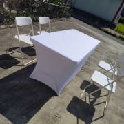 白色摺疊椅 & 摺疊桌 & 白色彈力桌套 出租運送 (4)