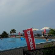 2014 Ducati DOCT 重型機車會師 泳池派對活動 白色休閒陽傘 傘座 出租運送 (2)