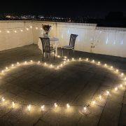 頂樓 燭光晚餐求婚 串燈愛心圖型排列 活動場地佈置 出租 (4)