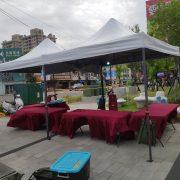 亞太電信 水湳愛買促銷活動 白色3米帳 摺疊桌 塑膠椅 電風扇 (6)